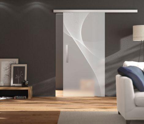 Glas-Schiebetürset, 1 -flg., Wandmontage 2000 mm, beidseitige Dämpfung