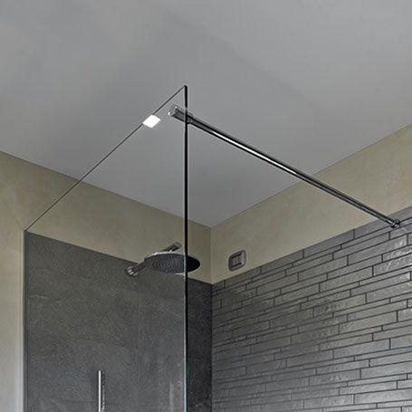 Duschwandglas mit Stabistange